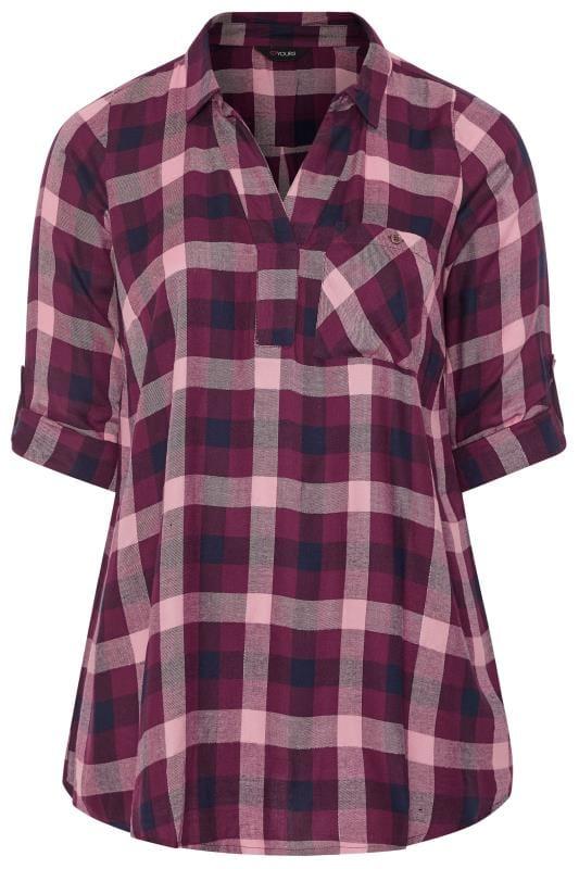Purple Metallic Check Overhead Shirt