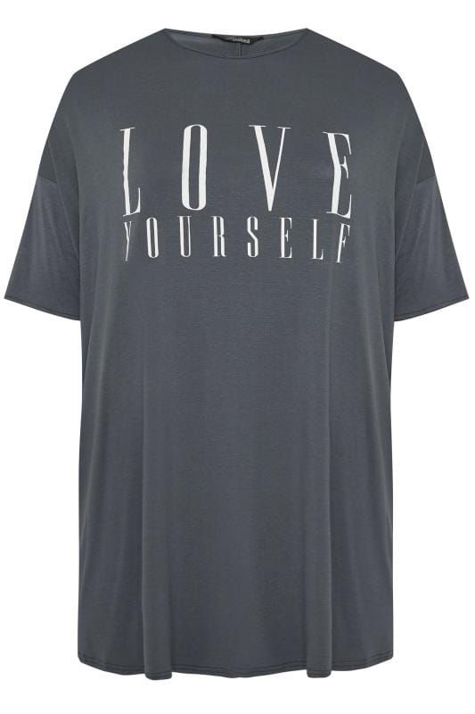 LIMITED COLLECTION Slate Grey 'Love Yourself' Slogan Oversized Top