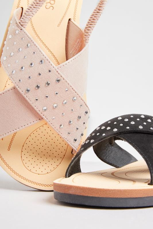 Nude Cross Over Diamante Sandals In Extra Wide Fit