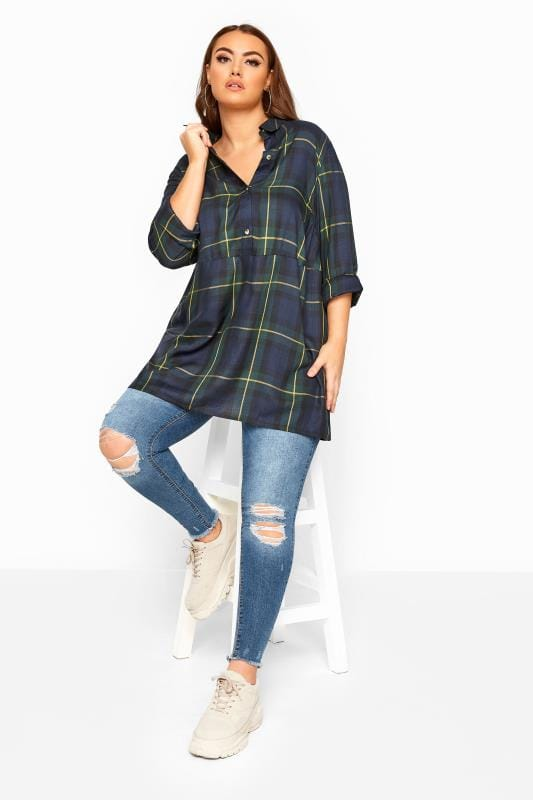 Plus Size Shirts LIMITED COLLECTION Green Oversized Overhead Check Shirt