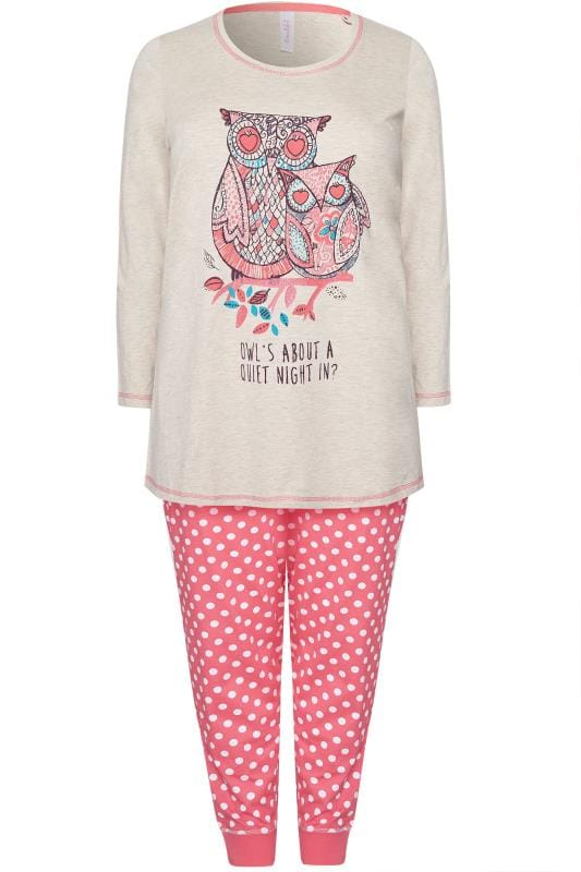Stone & Coral Owl Print Pyjama Set