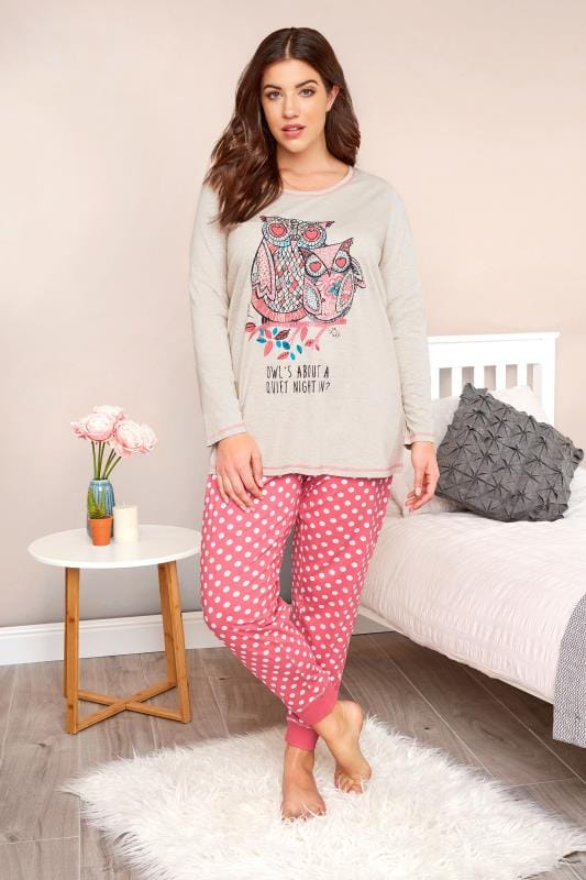Plus Size Pyjamas Stone & Coral Owl Print Pyjama Set