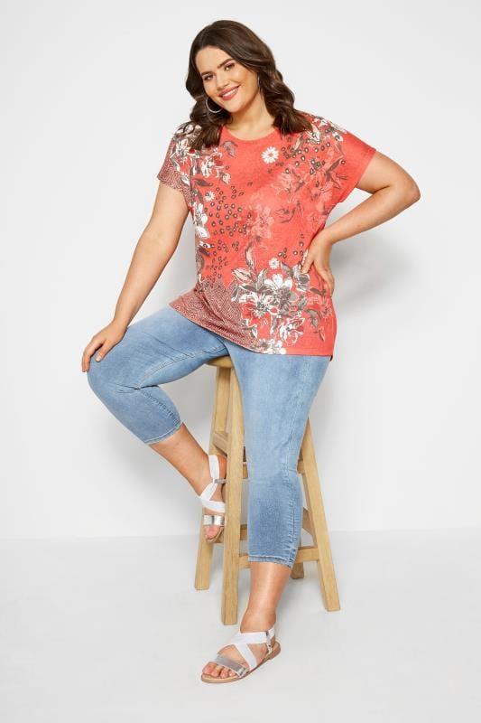 Coral Floral Mix T-Shirt