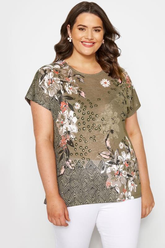 Plus Size T-Shirts Khaki Floral Mix T-Shirt