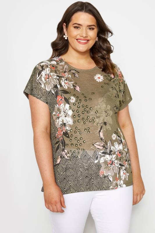 Khaki Floral Mix T-Shirt