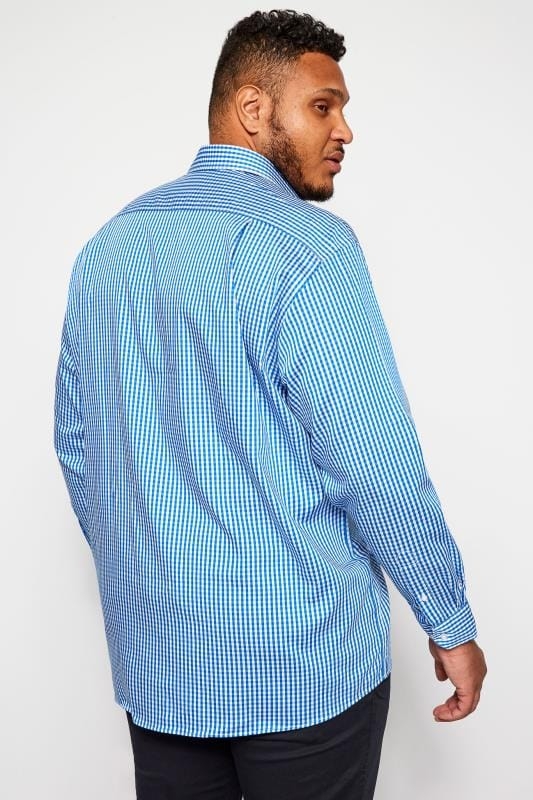DOUBLE TWO Blue Gingham Check Non-Iron Luxury Long Sleeve Shirt