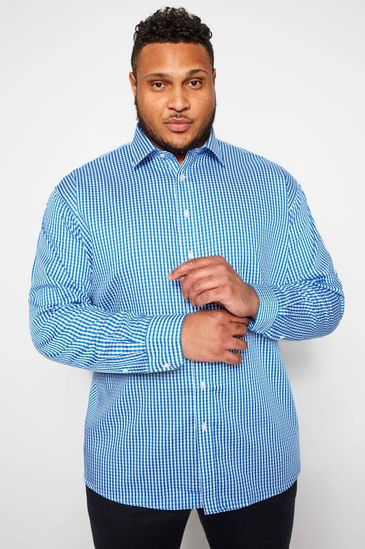 Smart Shirts Tallas Grandes PARADIGM Blue Gingham Check Non-Iron Luxury Long Sleeve Shirt