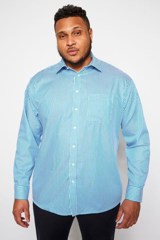 Plus Size Gifts DOUBLE TWO Blue Stripe Non-Iron Luxury Long Sleeve Shirt