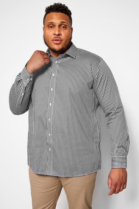Plus Size Smart Shirts DOUBLE TWO Charcoal Grey Gingham Check Non-Iron Luxury Long Sleeve Shirt