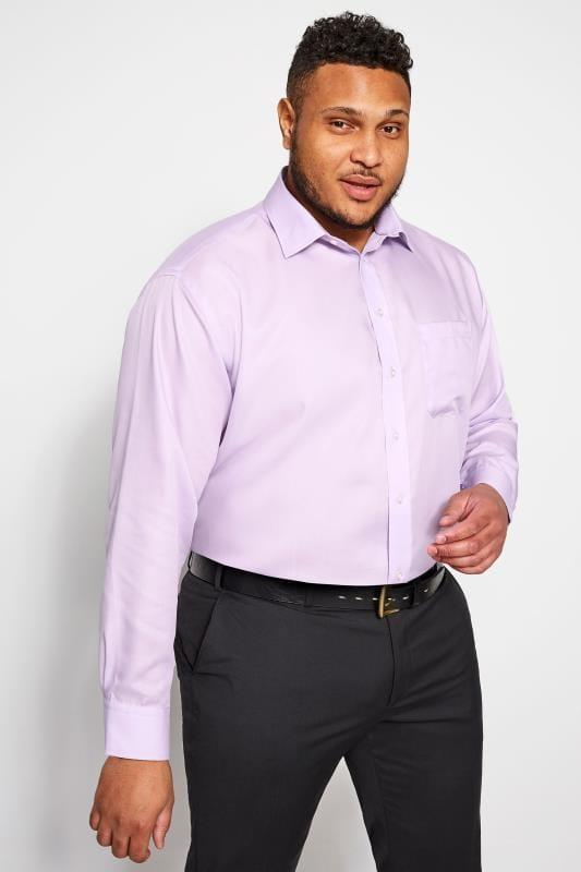 Men's Smart Shirts DOUBLE TWO Lilac Non-Iron Luxury Long Sleeve Shirt