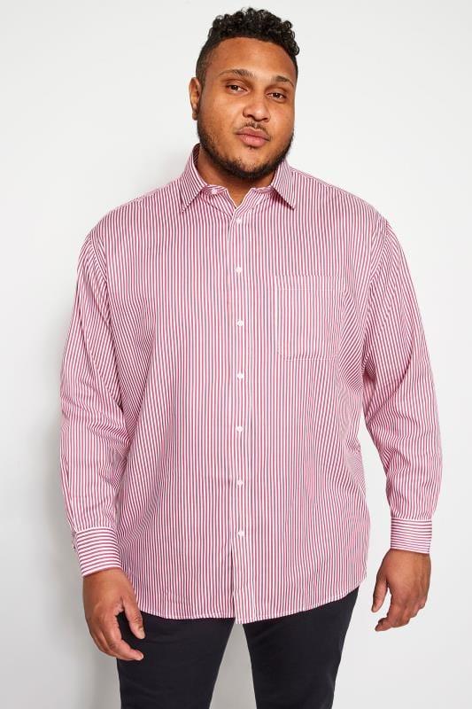 PARADIGM Red Stripe Non-Iron Luxury Long Sleeve Shirt