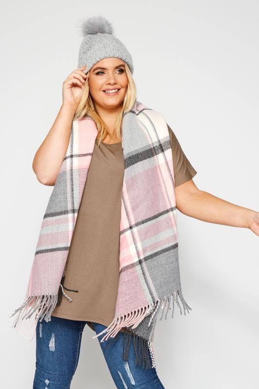 Scarves Tallas Grandes Pastel Pink & Grey Check Scarf