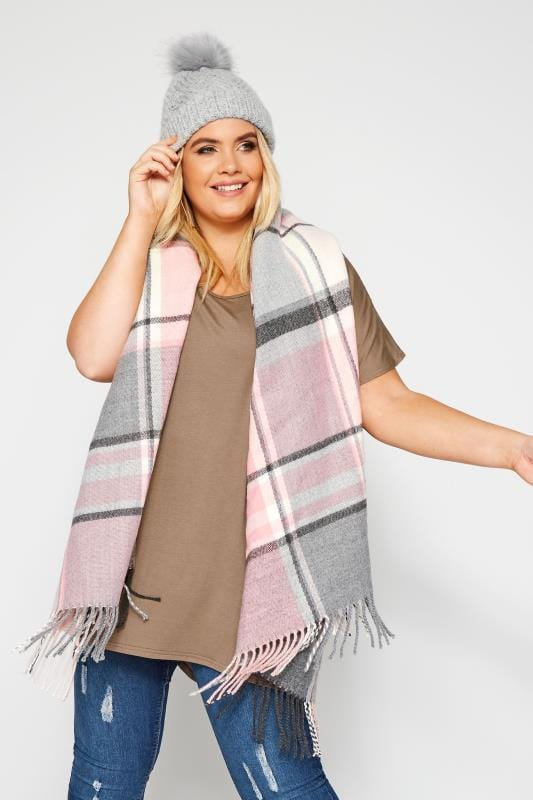 Большие размеры | Scarves Pastel Pink & Grey Check Scarf