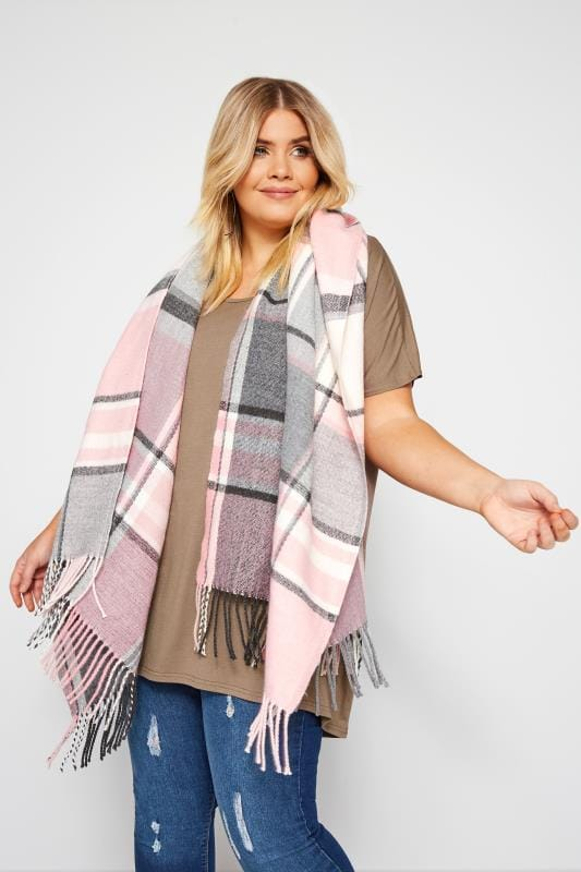 Plus Size Scarves Pastel Pink & Grey Check Scarf