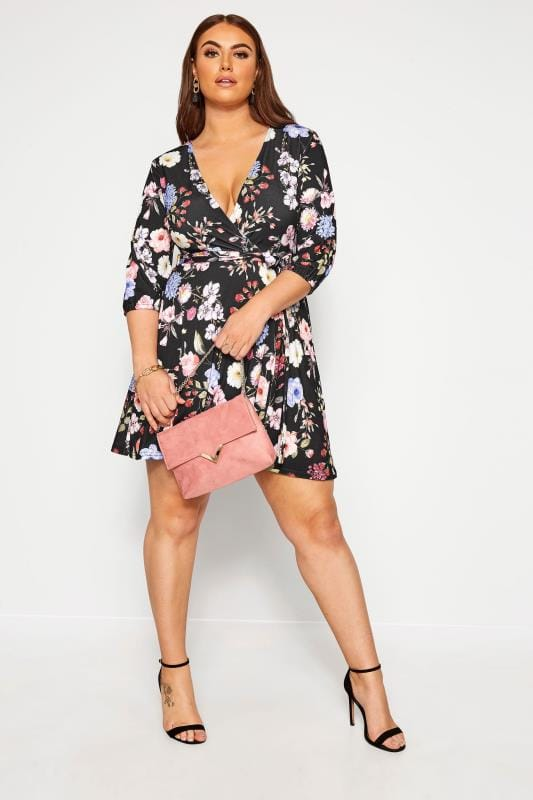 LIMITED COLLECTION Black Floral Skater Dress