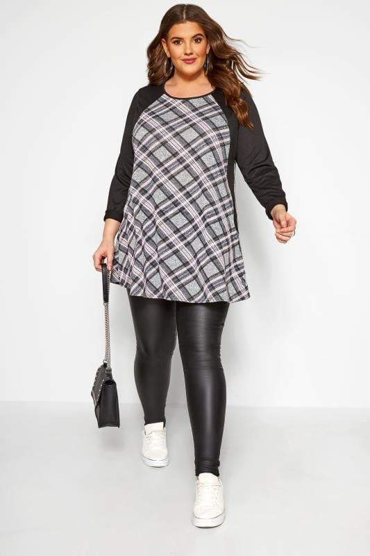 Grey & Pink Check Longline Top