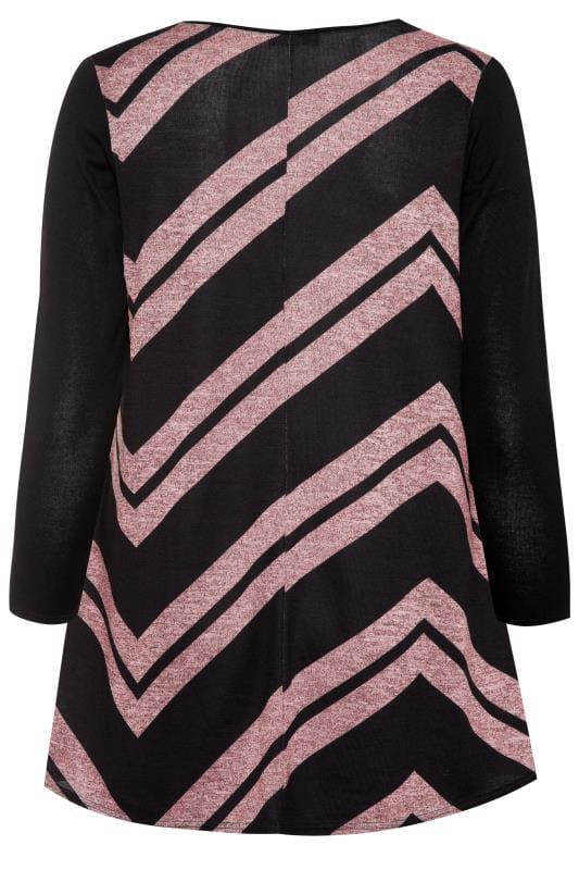 Black & Pink Chevron Print Longline Top