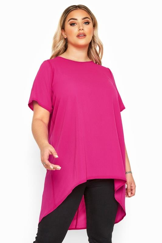 Plus Size Blouses YOURS LONDON Hot Pink Pleated Extreme Dipped Hem Blouse