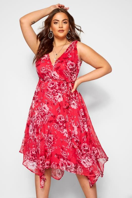 Plus Size Chiffon Dresses Pink Floral Hanky Hem Dress