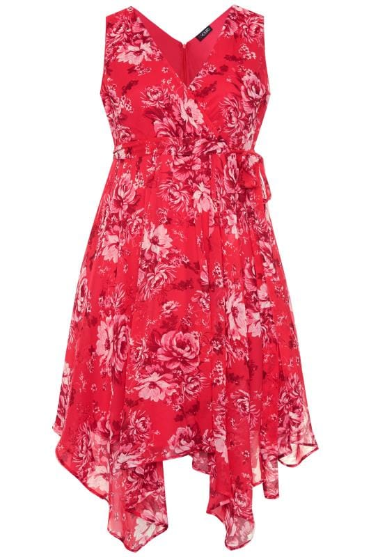 Pink Floral Hanky Hem Dress