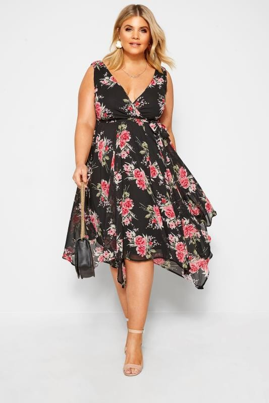 Plus Size Chiffon Dresses Black & Pink Floral Hanky Hem Dress