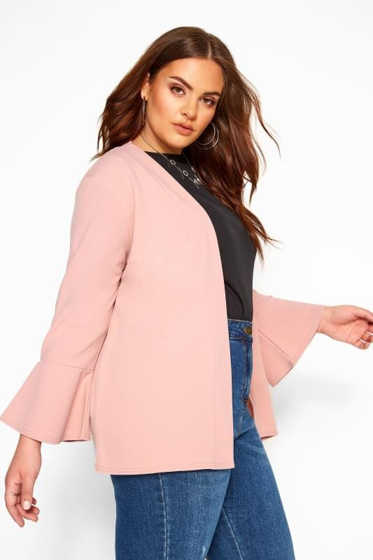 Plus Size Jackets YOURS LONDON Pink Fluted Sleeve Jacket
