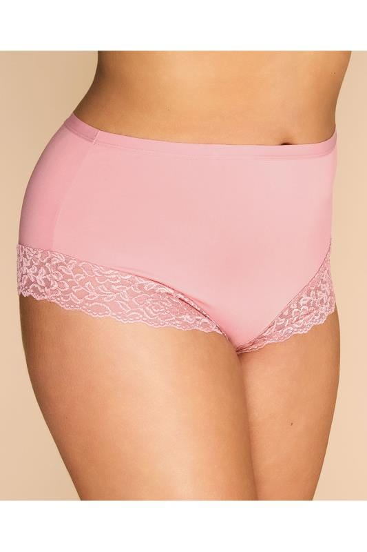 Plus Size Briefs & Knickers Dusky Pink Trim Briefs