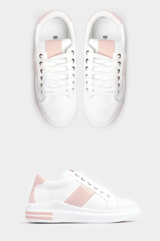 Plus-Größen Shoes LIMITED COLLECTION White & Pink Croc Effect Panel Trainers In Standard Fit