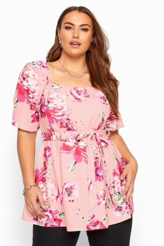 Plus Size Beauty YOURS LONDON Pink Floral Square Neck Peplum Top