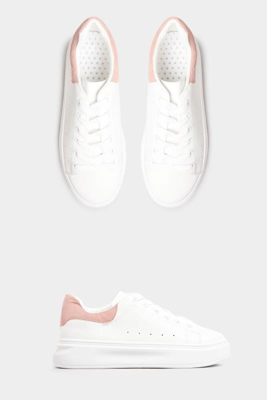 Plus-Größen Shoes LIMITED COLLECTION White Trainers With Pink Trim In Standard Fit