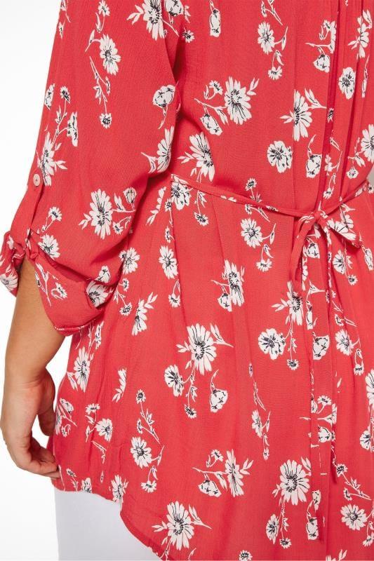 Red Floral Button Through Pintuck Shirt