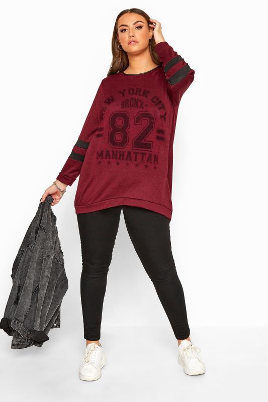 Sweatshirt im College-Stil - Weinrot