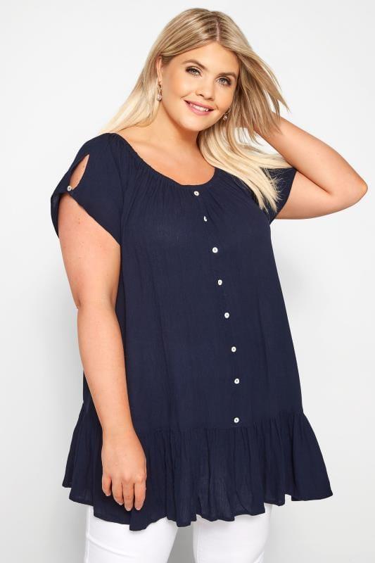 Plus Size Bardot & Cold Shoulder Tops Navy Gypsy Bardot Top