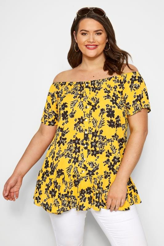 Plus-Größen Bardot & Cold Shoulder Tops Yellow Floral Gypsy Bardot Top