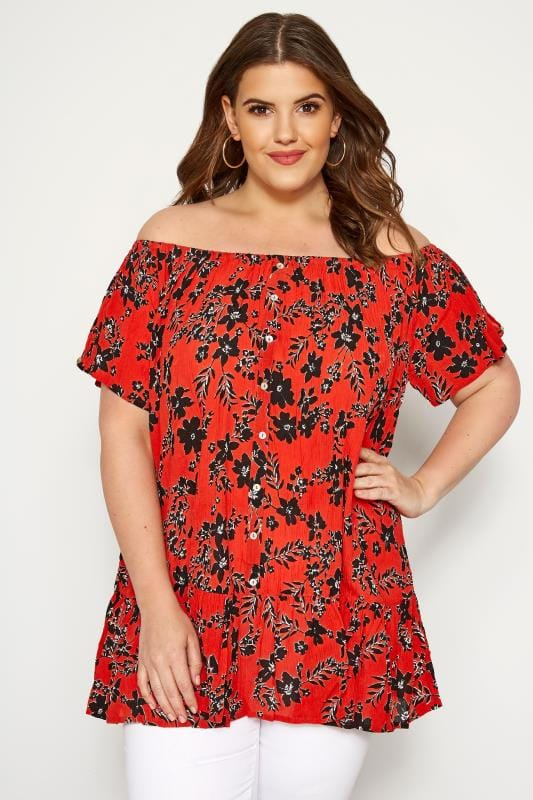 Plus Size Bardot & Cold Shoulder Tops Red Floral Gypsy Bardot Top