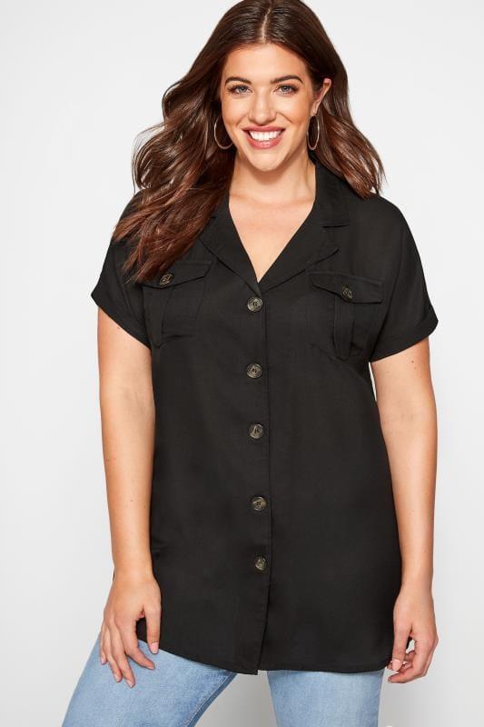 Plus Size Blouses & Shirts Black Double Pocket Chiffon Shirt
