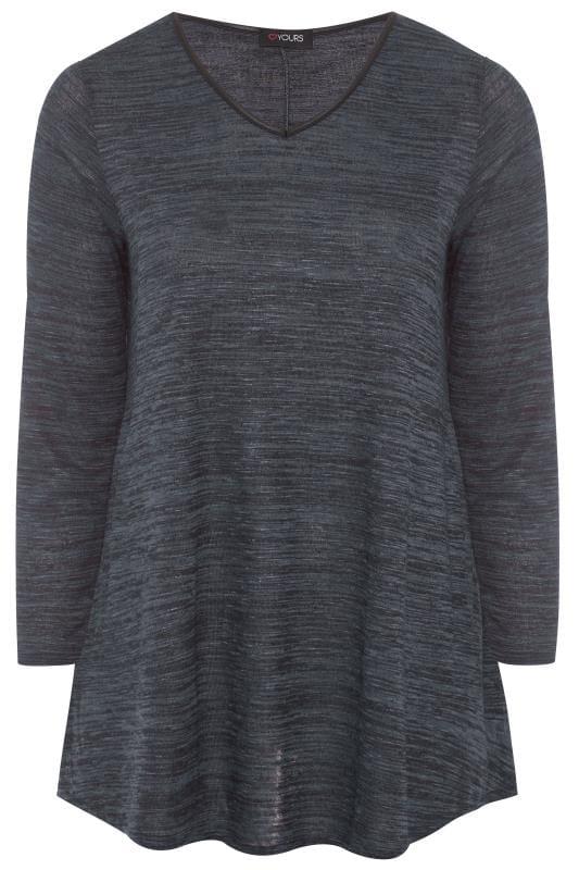 Große Größen Oberteile für jeden Tag Slate Grey Long Sleeved Longline Swing Top