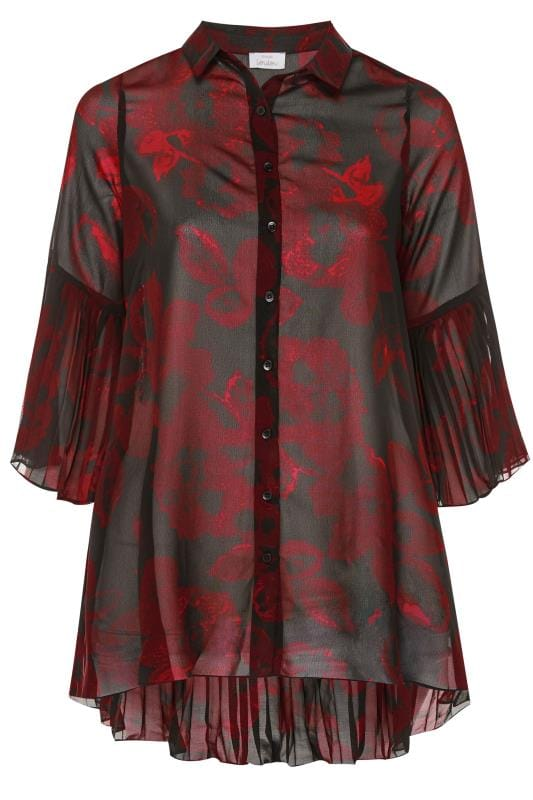 Black Floral Pleated Longline Shirt