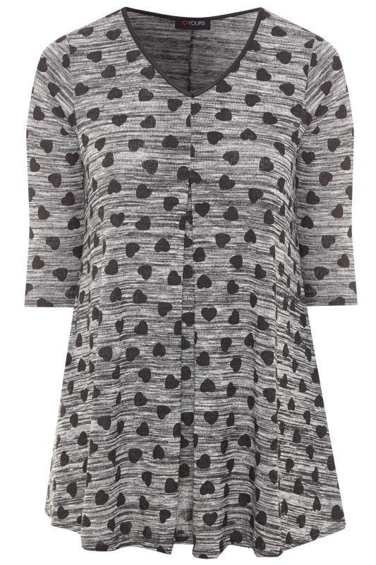 Plus Size Jersey Tops Grey Marl Heart Print Swing Top