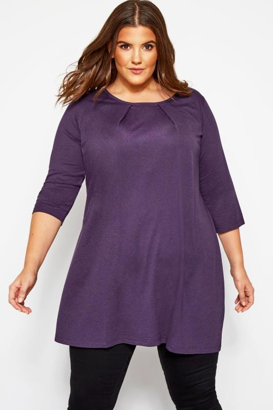 Plus Size Tunics Purple Tunic With Pleated Front