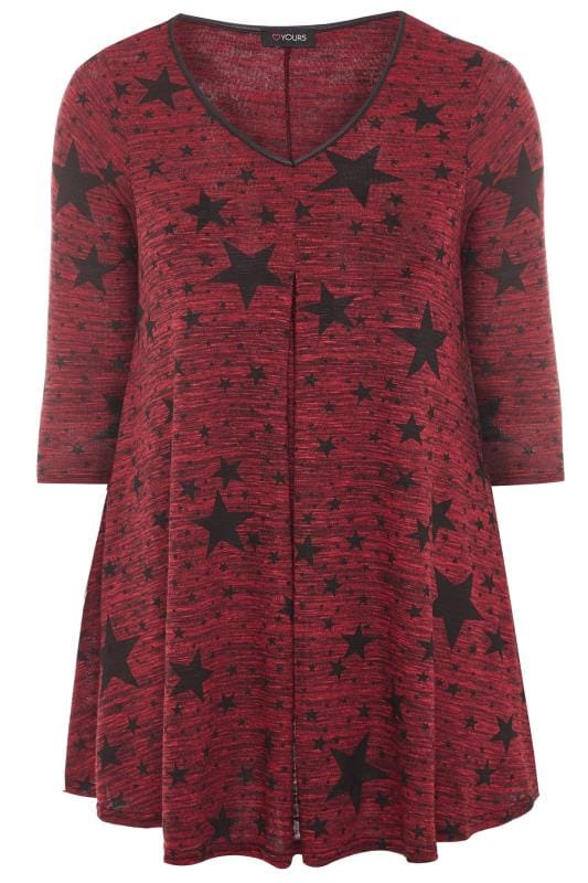 Plus Size Longline Tops Wine Red Star Print Swing Top