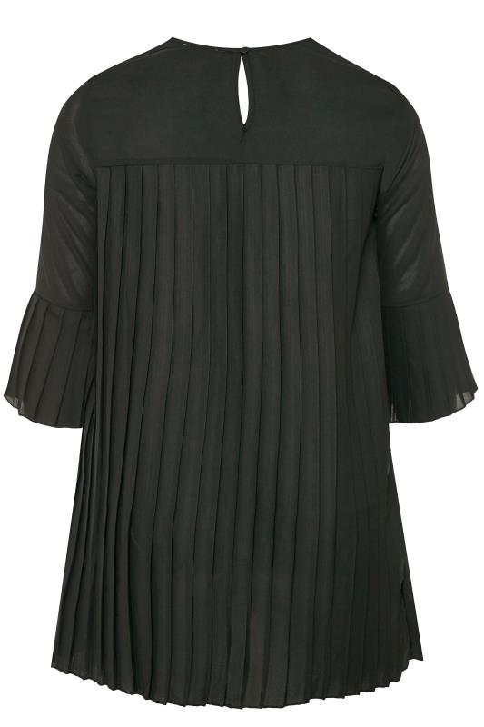 YOURS LONDON Black Pleated Tunic Blouse