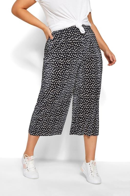 Black Spot Print Plisse Culottes