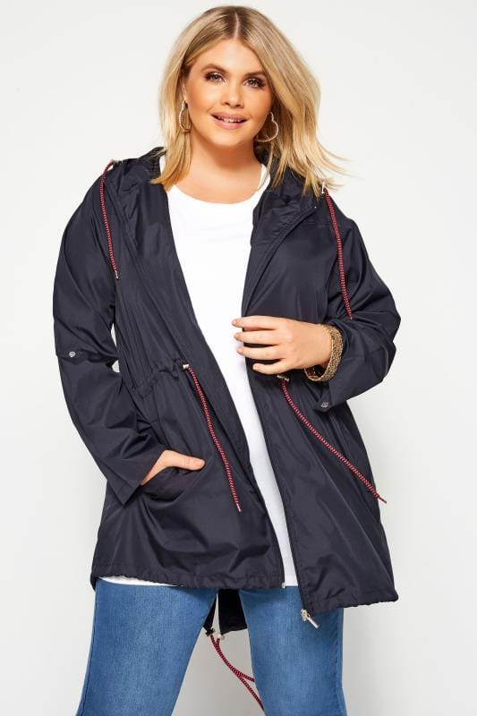 Plus Size Parka Coats Navy Pocket Parka Jacket
