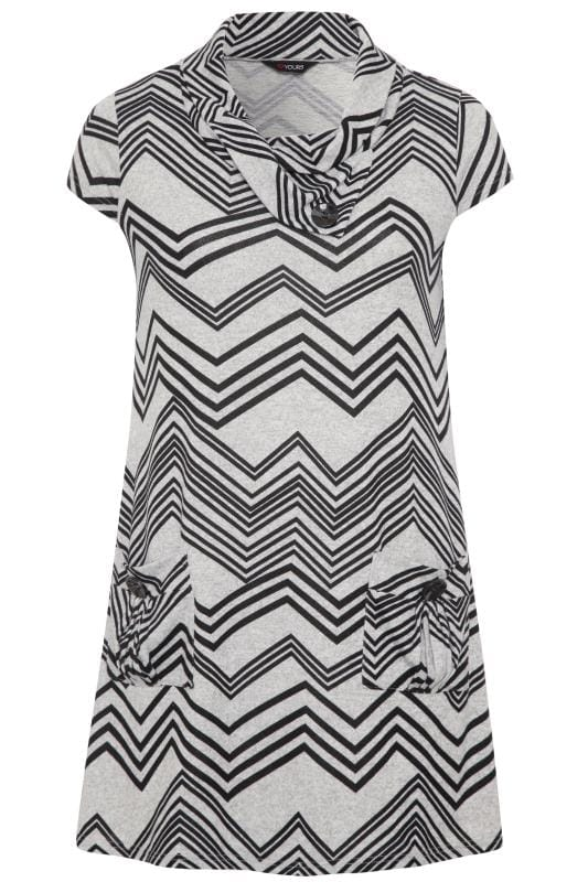 Grey Chevron Cowl Neck Tunic Dress
