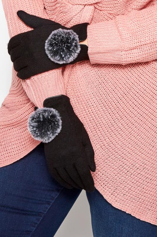 Plus Size Gloves Black Pom Pom Gloves