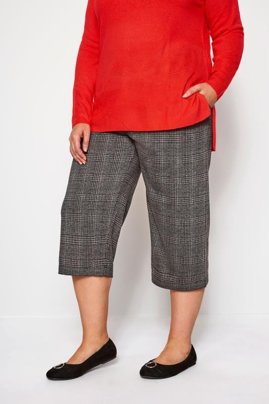 Plus Size Culottes Grey Check Ponte Horn Button Culottes