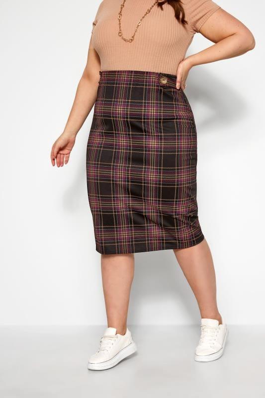 Plus Size Midi Skirts Black & Purple Check Button Midi Skirt