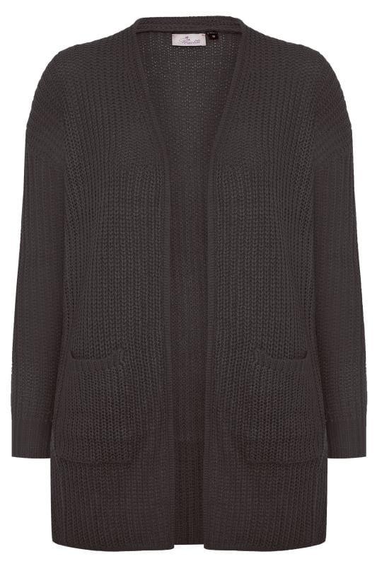Plus Size Cardigans PRASLIN Black Longline Knitted Cardigan