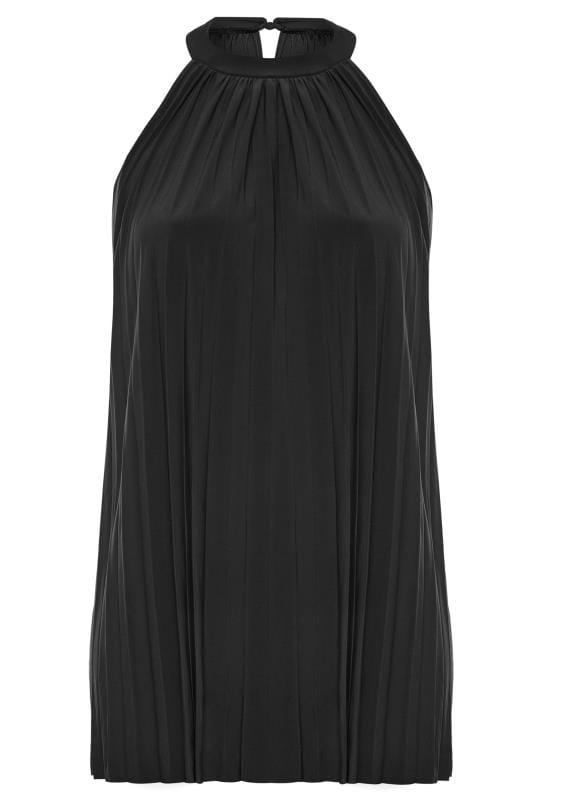 Tuniques Grande Taille PRASLIN Black Pleated Halterneck Tunic Top
